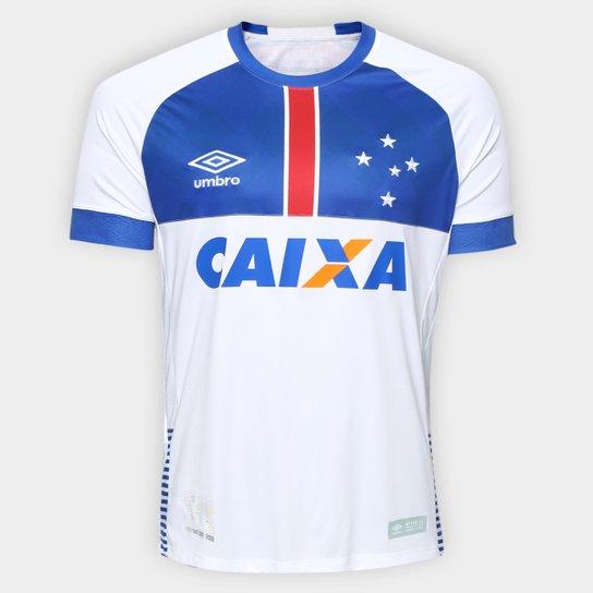 Camisa Cruzeiro II 2018 s/n°  C/ Patrocínio Blár Vikingur - Torcedor Umbro Masculina - Branco+Azul
