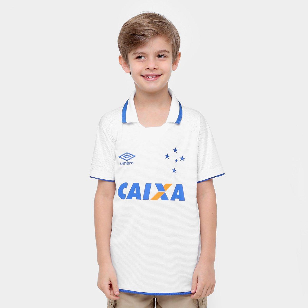 Umbro 17 s Torcedor Cruzeiro Branco e Azul Camisa nº II 18 Infantil  nqxAfW8BwC ... da4940d12c79a