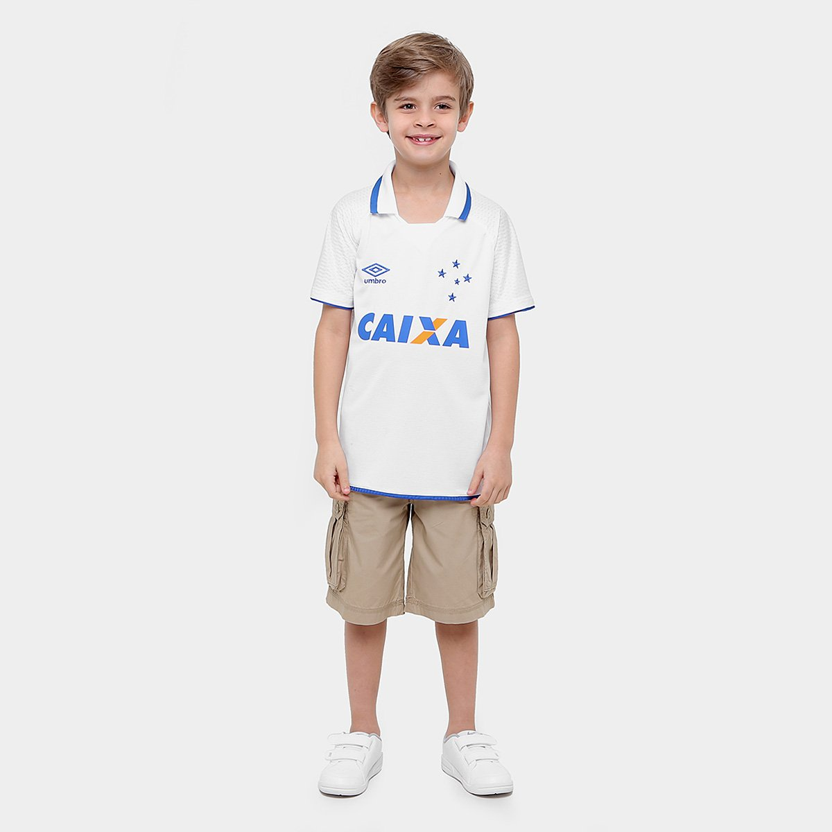 ... Umbro 17 s Torcedor Cruzeiro Branco e Azul Camisa nº II 18 Infantil  nqxAfW8BwC 420cafb0088b1