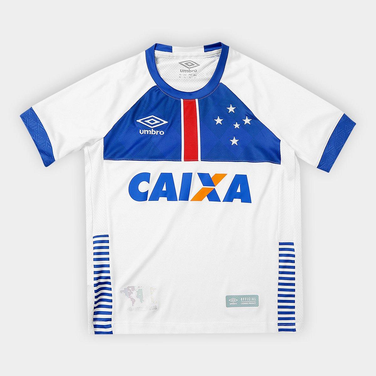 e632cb9407a18 Camisa Cruzeiro Infantil II 2018 s n° C  Patrocínio Blaa Vikingur Torcedor  Umbro - Branco e Azul - Compre Agora