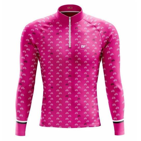 Camisa de ciclismo feminina manga longa Be Fast Classic Bikes - Rosa