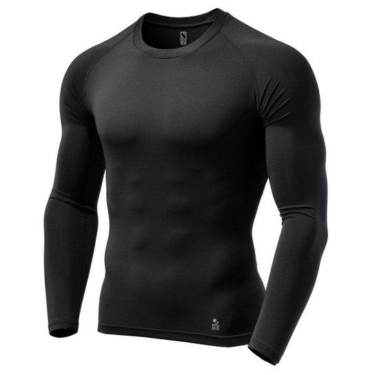 Camisa de Compressão Térmica Stigli Pro Proteção Solar FPU 50+ Manga Longa Rash Guard - Preto