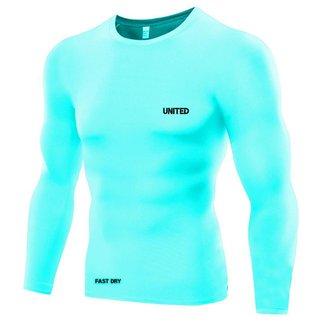Camisa de compressão térmica United Pro Proteção Solar FPU50+ Manga Longa Rash Guard  - Agua - G