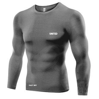 Camisa de compressão térmica United Pro Proteção Solar FPU50+ Manga Longa Rash Guard  - Cinza -