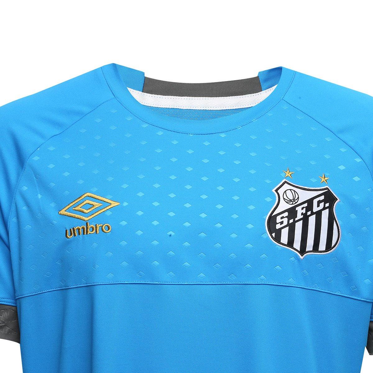c2f0868e31 Camisa de Goleiro Santos I 2018 s n° Torcedor Umbro Masculina - Azul ...