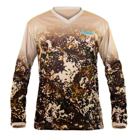 Camisa de Pesca Classic Sports Masculina - Marrom Claro+Marrom Escuro