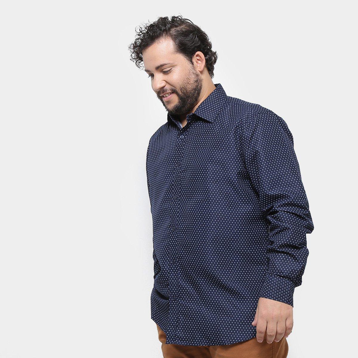 d94e1cd8558b13 Camisa Delkor Manga Longa Plus Size Masculina - Marinho