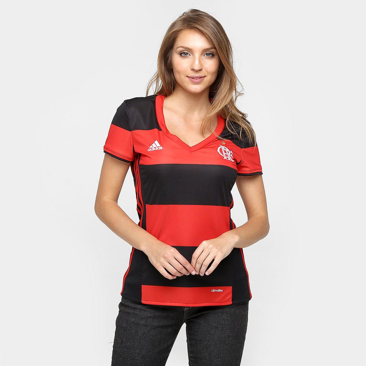 48eed2479f6c Camisa Feminina Adidas Flamengo I 2016 s/nº - Preto e Vermelho