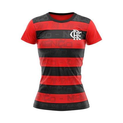 Camisa Feminina Flamengo Shout Vermelho E Preto Oficial