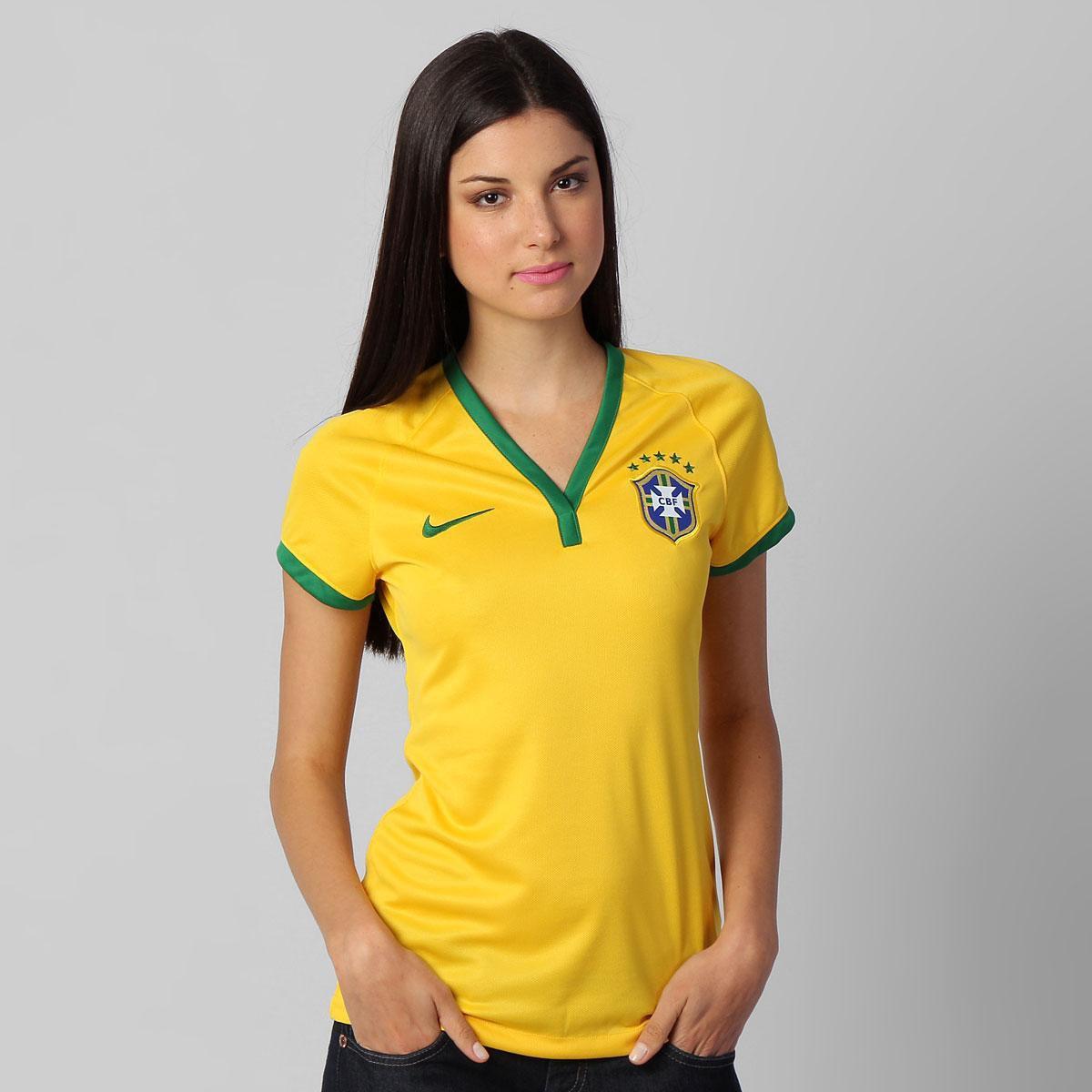 319df914cd Camisa Feminina Nike Seleção Brasil I 2014 s nº - Compre Agora ...