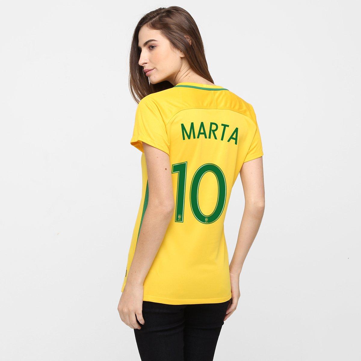 5eeda42139b55 Camisa Feminina Nike Seleção Brasil I 2016 nº 10 - Marta - Compre Agora