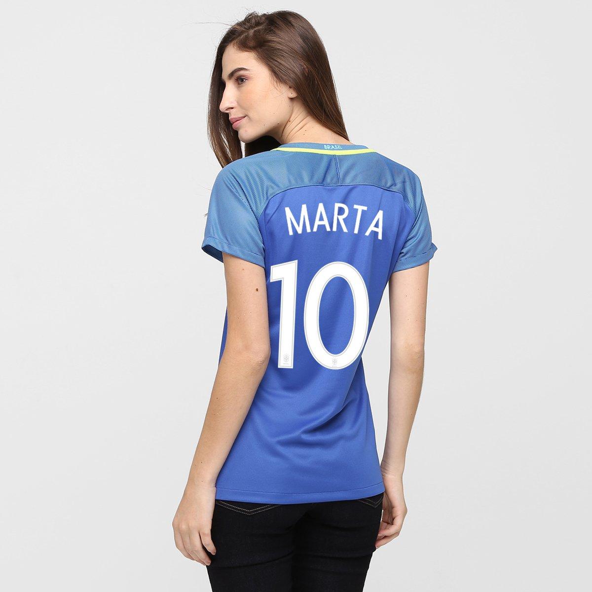 26810cdf90f5f Camisa Feminina Nike Seleção Brasil II 2016 nº 10 - Marta - Compre Agora