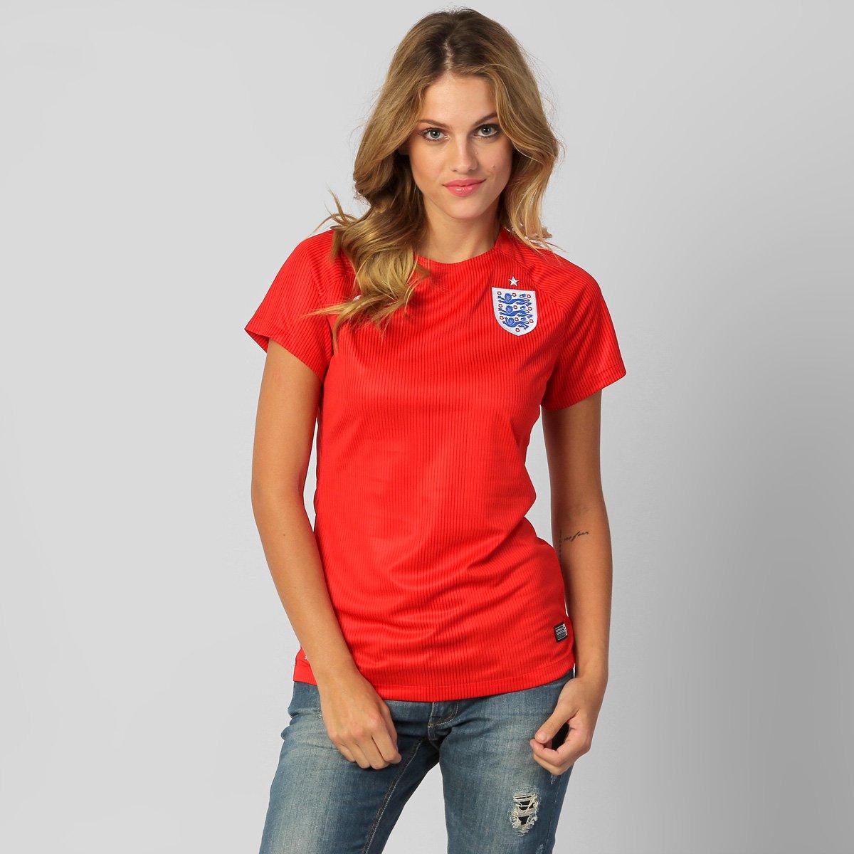 69cf6e0e2f211 Camisa Feminina Nike Seleção Inglaterra Away 2014 s nº - Compre Agora