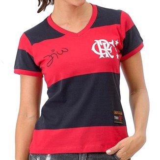 Camisa Feminina Retrô Flamengo 1981 Libertadores Zico