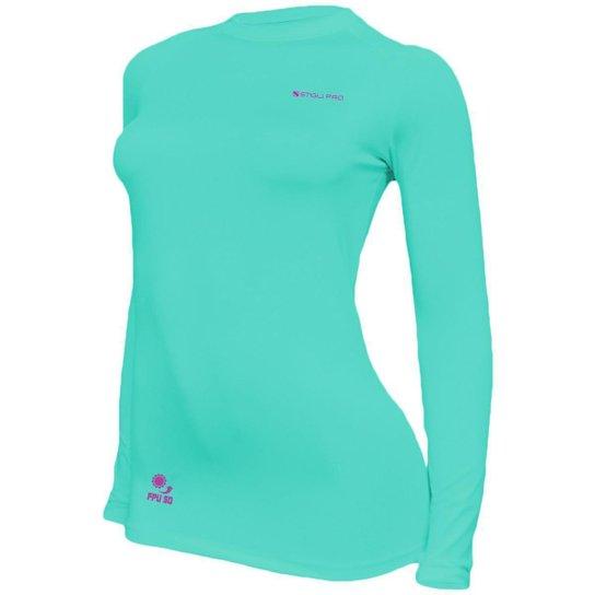 Camisa Feminina Térmica Stigli Pro Proteção Solar FPU 50 Manga Longa Luna Poliamida - Verde água