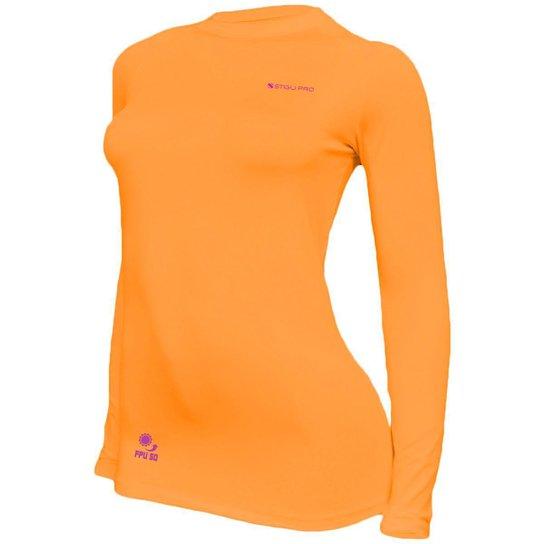 Camisa Feminina Térmica Stigli Pro Proteção Solar FPU 50 Manga Longa Luna Poliamida - Laranja