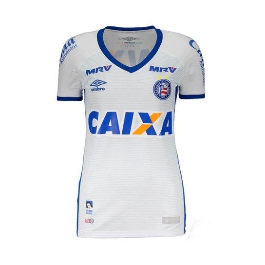 Camisa Feminina Umbro Bahia I 2016 - Branco+Azul