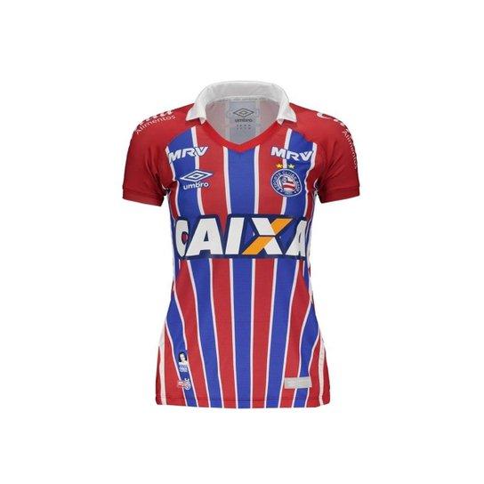Camisa Feminina Umbro Bahia Ii 2016 - Vermelho+Branco