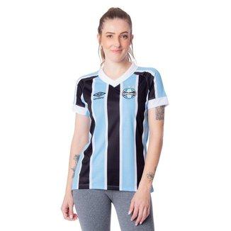 Camisa Feminina Umbro Grêmio Oficial 1 2021 Azul Celeste/Preto