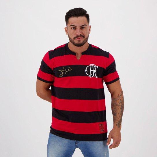 Camisa Flamengo FlaTri Zico Masculina - Preto+Vermelho