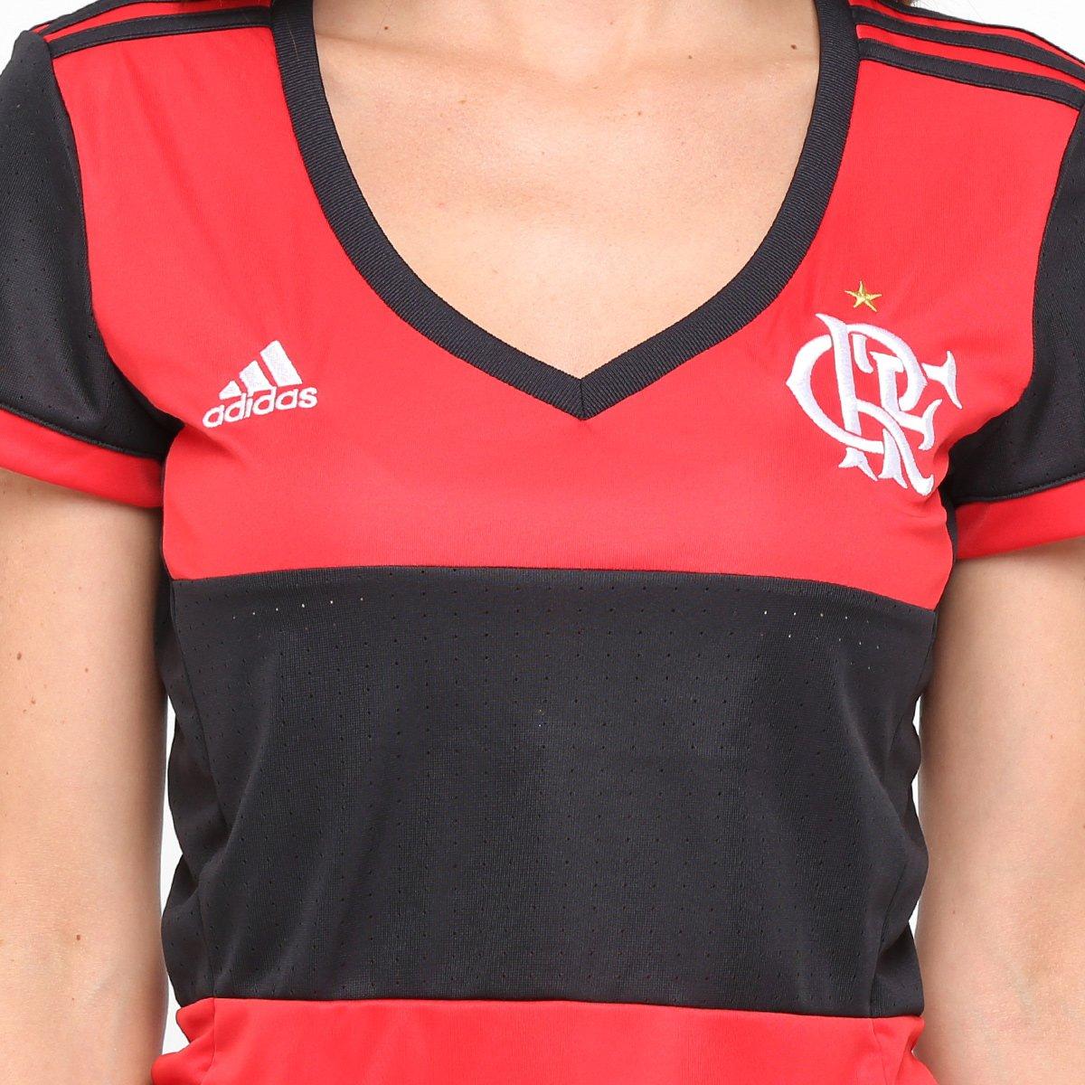 Camisa Flamengo I 17 18 s nº Torcedor Adidas Feminina - Preto e ... 0c6151da79cdc