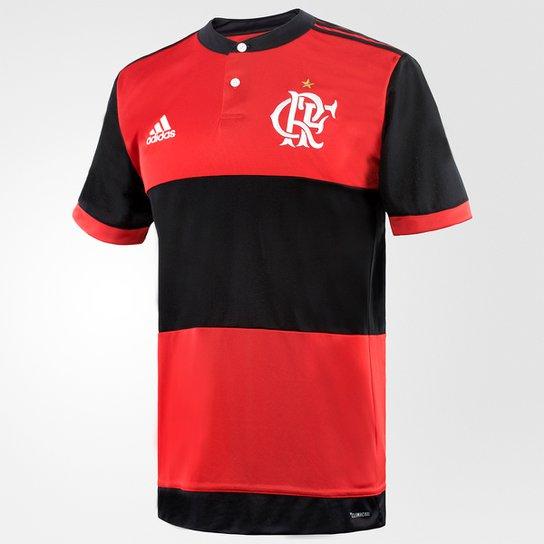 Camisa Flamengo I 17/18 s/nº - Torcedor Adidas Masculina - Preto+Vermelho