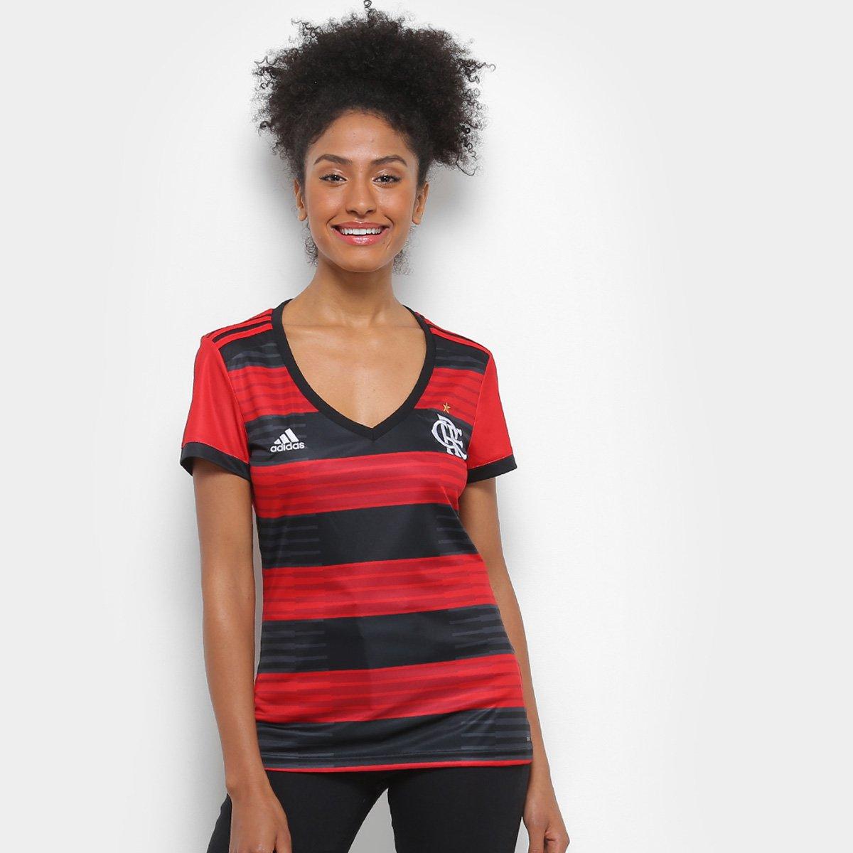 n° s Camisa Vermelho Feminina Preto Torcedor e Adidas 2018 Flamengo I nTTRwtIq6