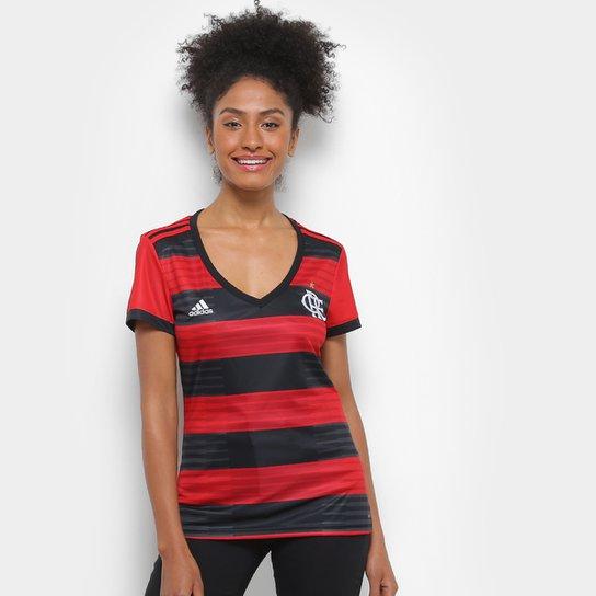 Camisa Flamengo I 2018 s/n° Torcedor Adidas Feminina - Vermelho+Preto