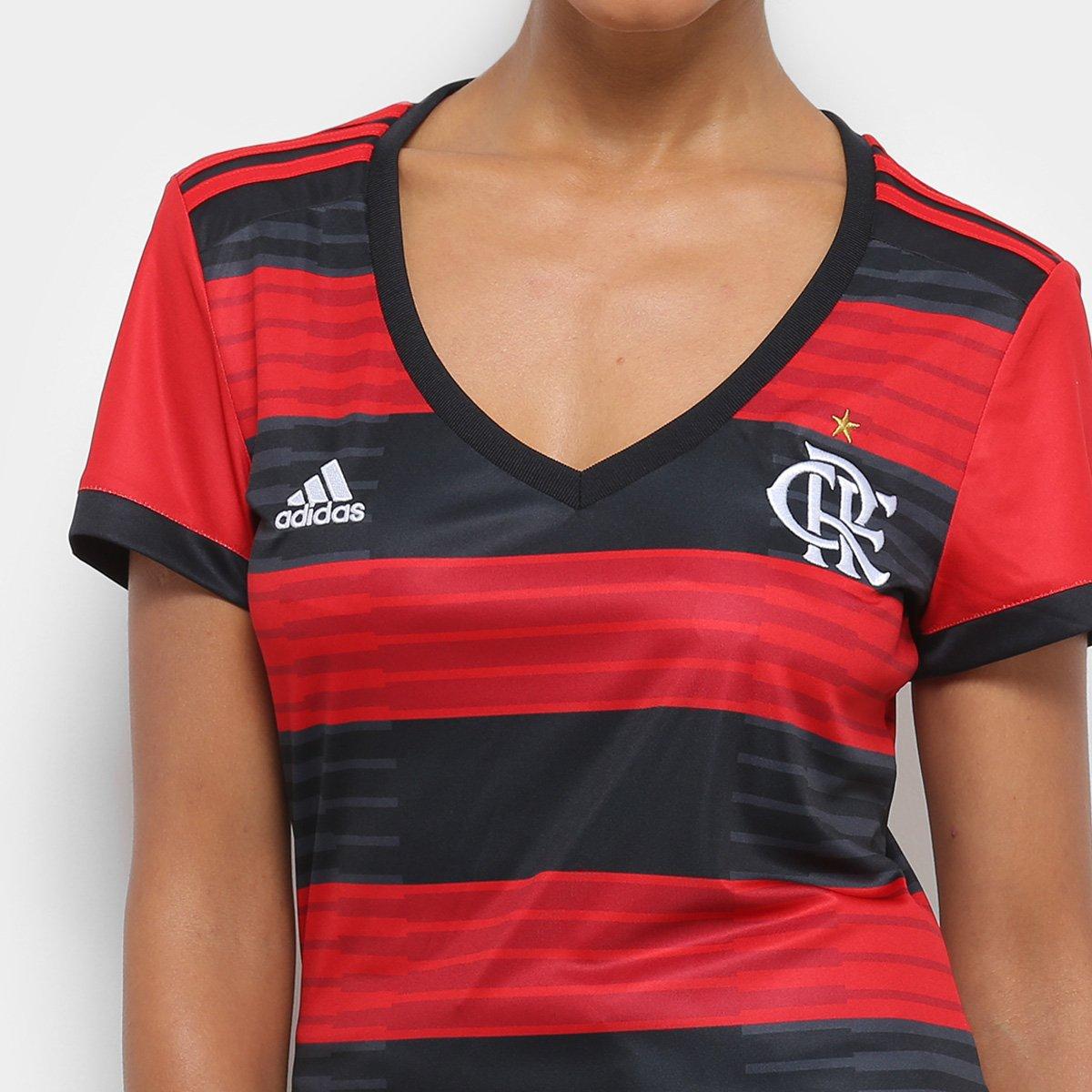 Camisa Flamengo I 2018 s n° Torcedor Adidas Feminina - Vermelho e ... 1b19b3ce76dfe