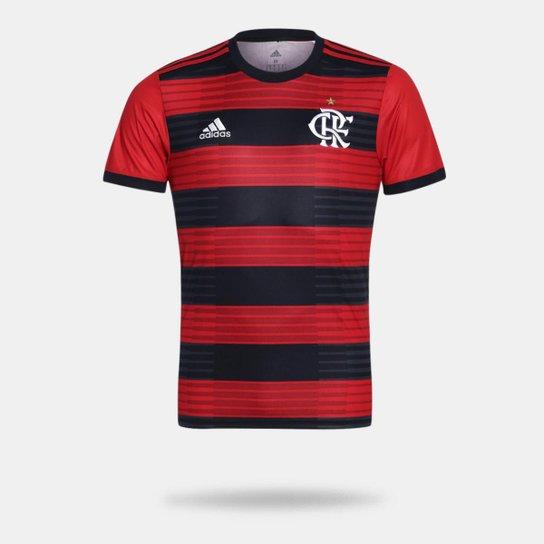 Camisa Flamengo I 2018 s/n° Torcedor Adidas Masculina - Vermelho+Preto