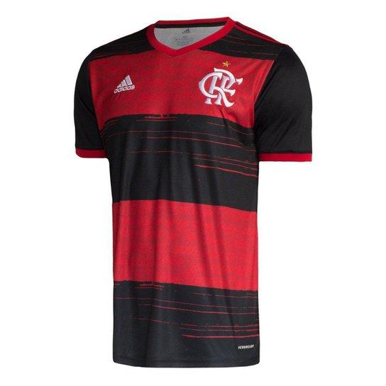 Camisa Flamengo I 20/21 s/n° Torcedor Adidas Masculina - Preto+Vermelho