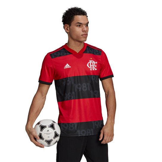 Camisa Flamengo I 21/22 s/n° Torcedor Adidas Masculina - Vermelho+Preto
