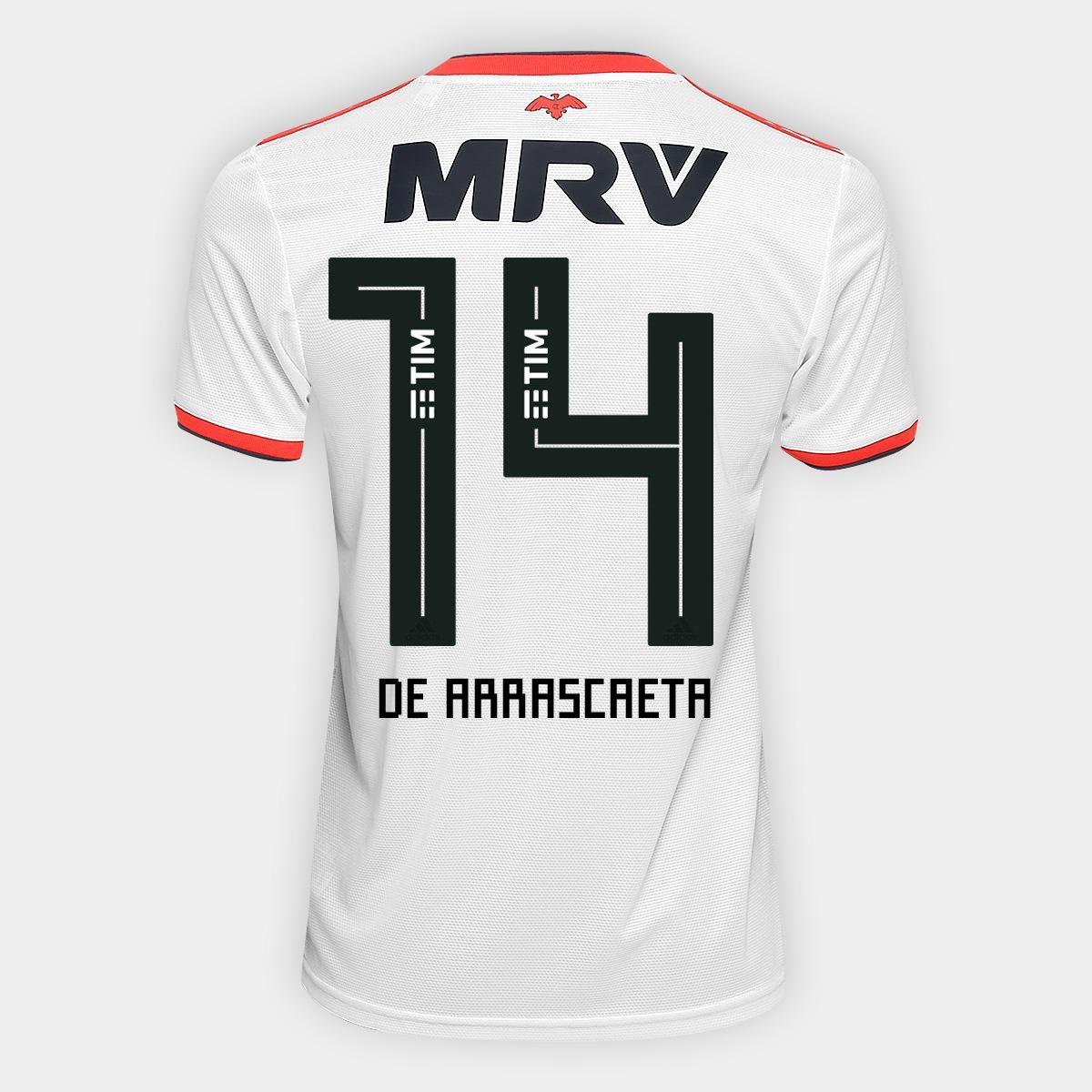 4cf6b22eaa6d9 Camisa Flamengo II 18 19 n°14 De Arrascaeta - Torcedor Adidas Masculina -  Off White e Vermelho - Compre Agora