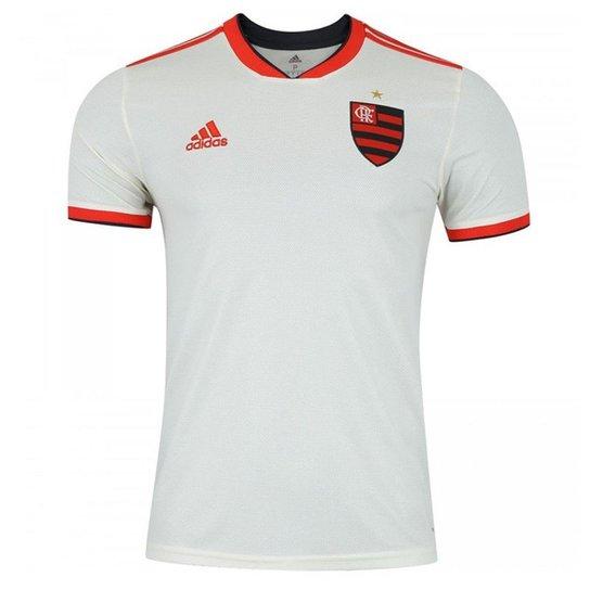 Camisa Flamengo II 2018 s/n° Torcedor Adidas Masculina - Off White+Vermelho