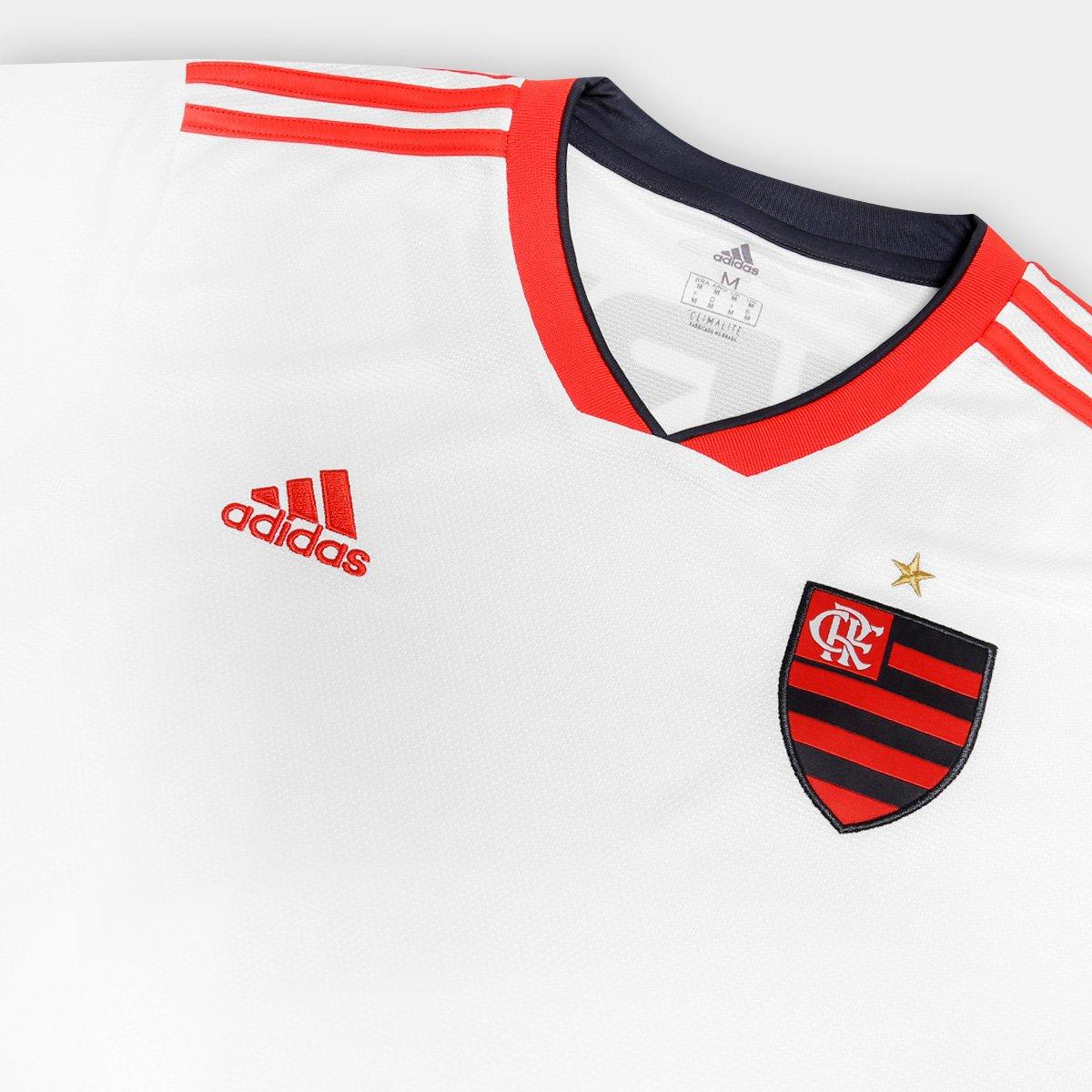 Camisa Flamengo II 2018 s n° Torcedor Adidas Masculina - Off White e ... a75af57b4dd43