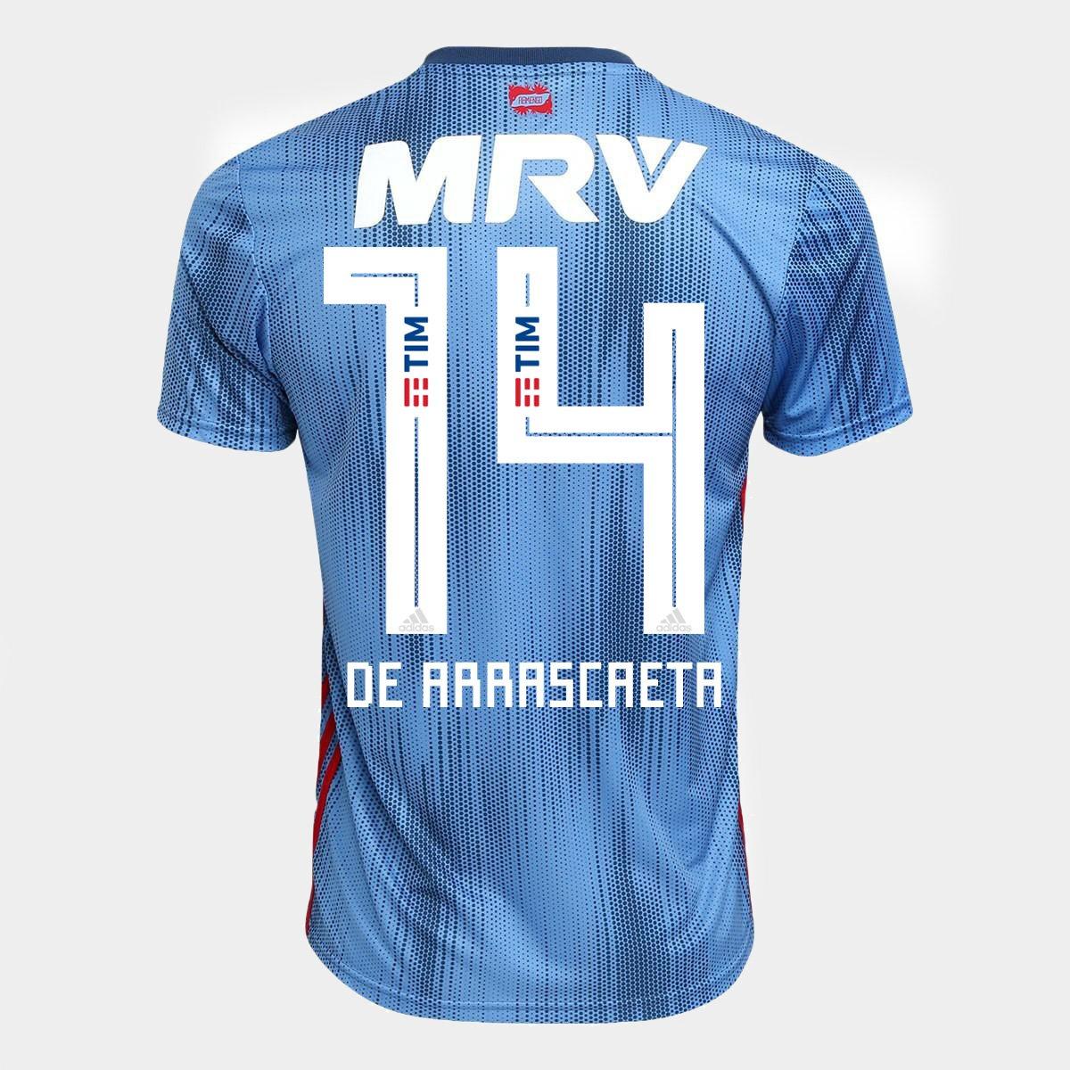 Camisa Flamengo III 18 19 n°14 De Arrascaeta - Torcedor Adidas Masculina -  Azul - Compre Agora  5fc83415221