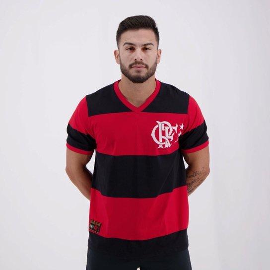 Camisa Flamengo Retrô Libertadores Masculina - Preto+Vermelho