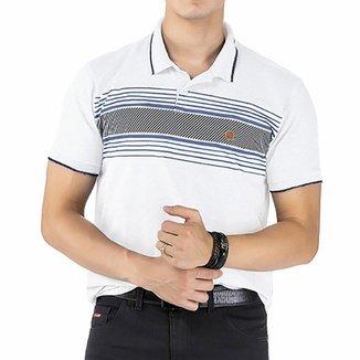 Camisa Gola Polo em Retilínea c/ Estampa e Aplique Branca