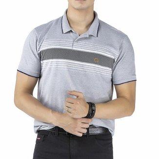 Camisa Gola Polo em Retilínea c/ Estampa e Aplique Cinza
