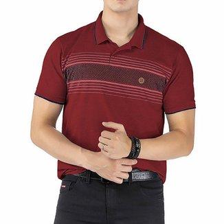 Camisa Gola Polo em Retilínea c/ Estampa e Aplique Vermelha