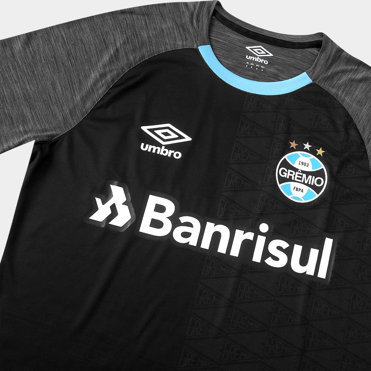 Camisa Grêmio Aquecimento 18 19 Umbro Masculina - Cinza e Preto ... 074be0c970a3c