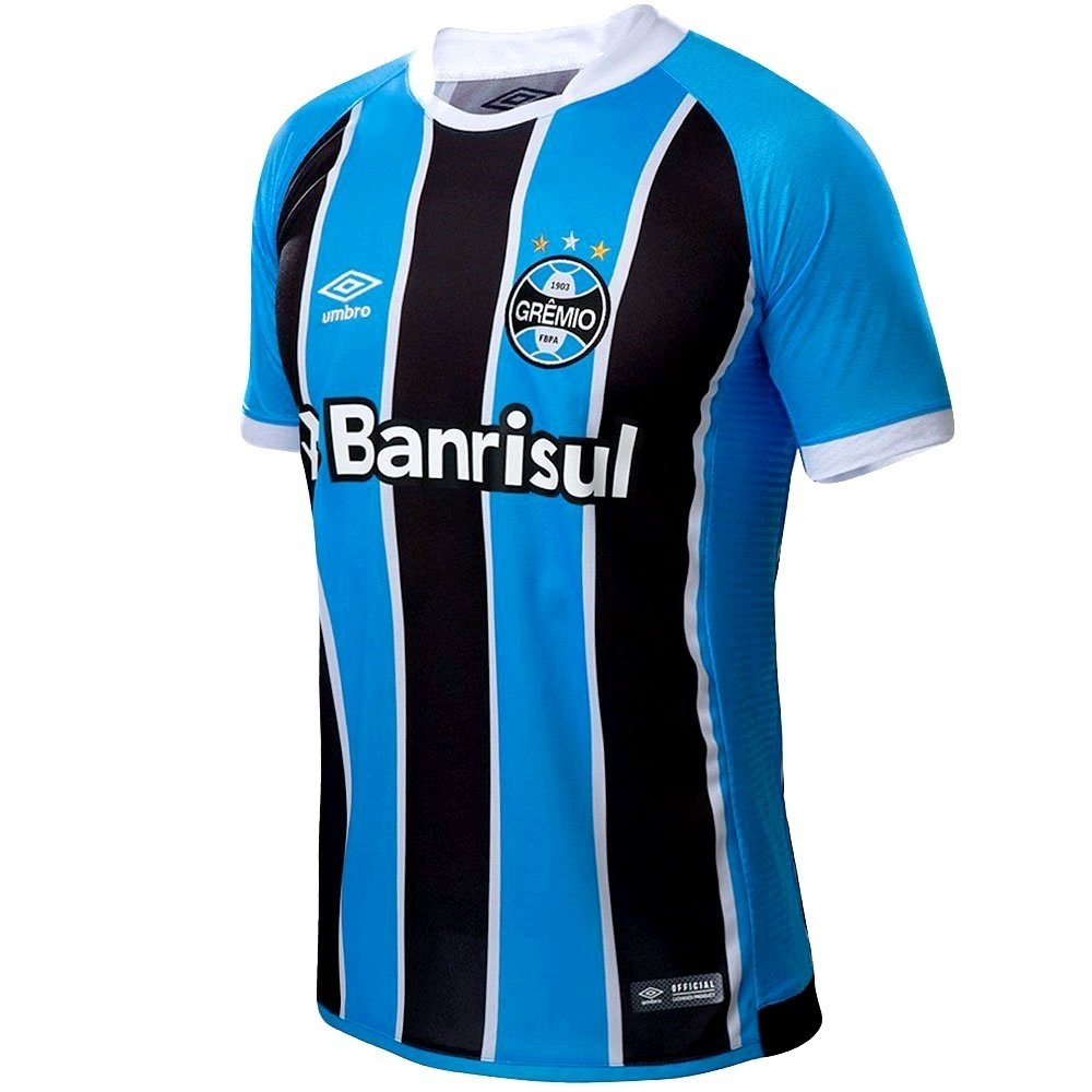 Camisa Grêmio I 17 18 nº 7 - Torcedor Umbro Masculina - Azul e Preto ... dd2352abe7dd9