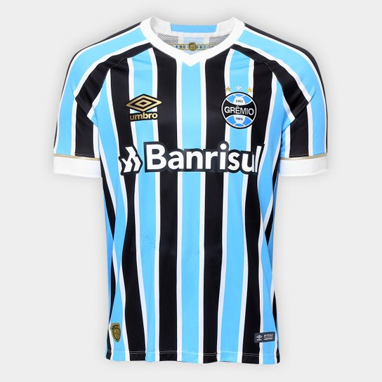 Camisa Grêmio I 18/19 s/n° Torcedor Umbro Masculina - Azul+Preto