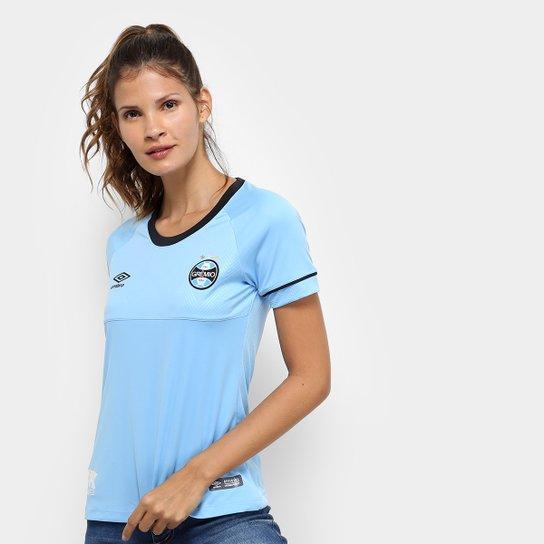 Camisa Grêmio II 2018 s/n° Charrua Torcedor Umbro Feminina - Azul+Preto