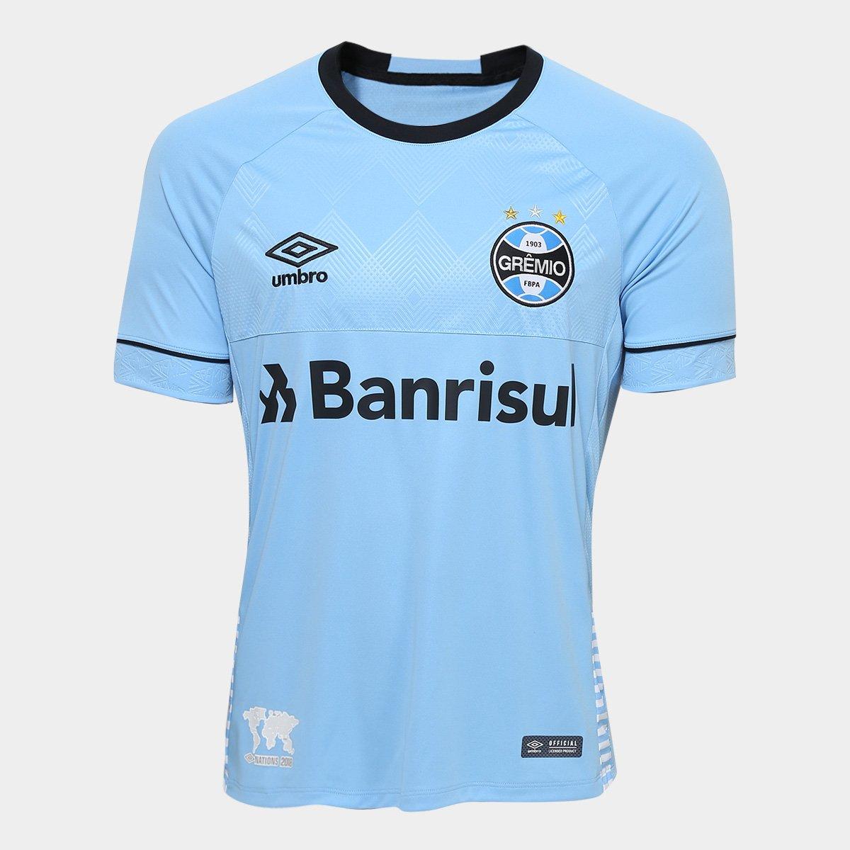 Camisa Grêmio II 2018 s n° Charrua Torcedor Umbro Masculina - Azul e ... db63136472