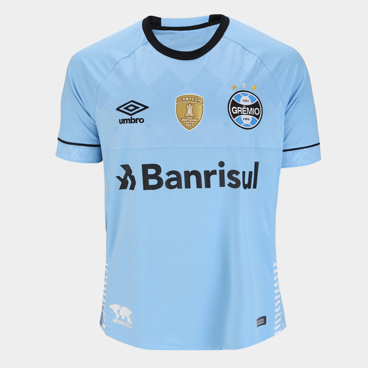 346bc4b9cb0c0 Camisa Grêmio II 2018 s n° Charrua Torcedor Umbro - Patch Campeão  Libertadores - Azul e Preto - Compre Agora