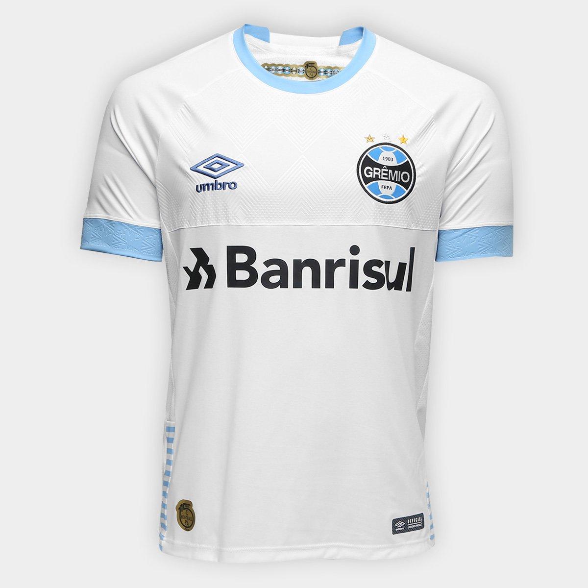 192a0e4ffd6b5 Camisa Grêmio II 2018 s n° Torcedor Umbro Masculina - Branco e Azul -  Compre Agora