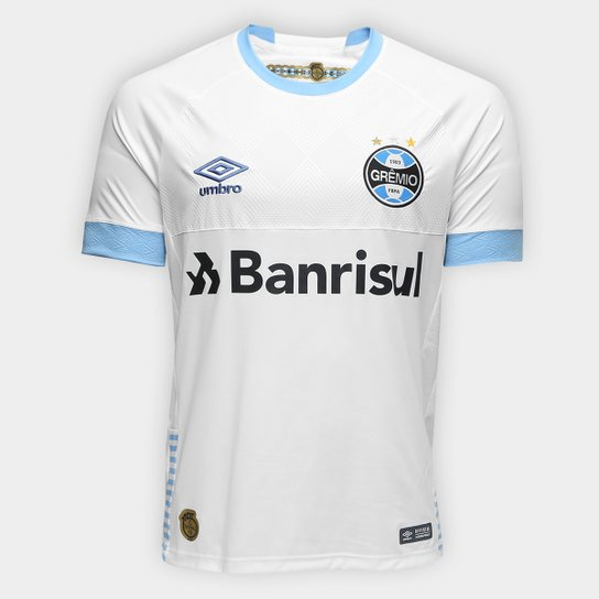 Camisa Grêmio II 2018 s/n° Torcedor Umbro Masculina - Branco+Azul