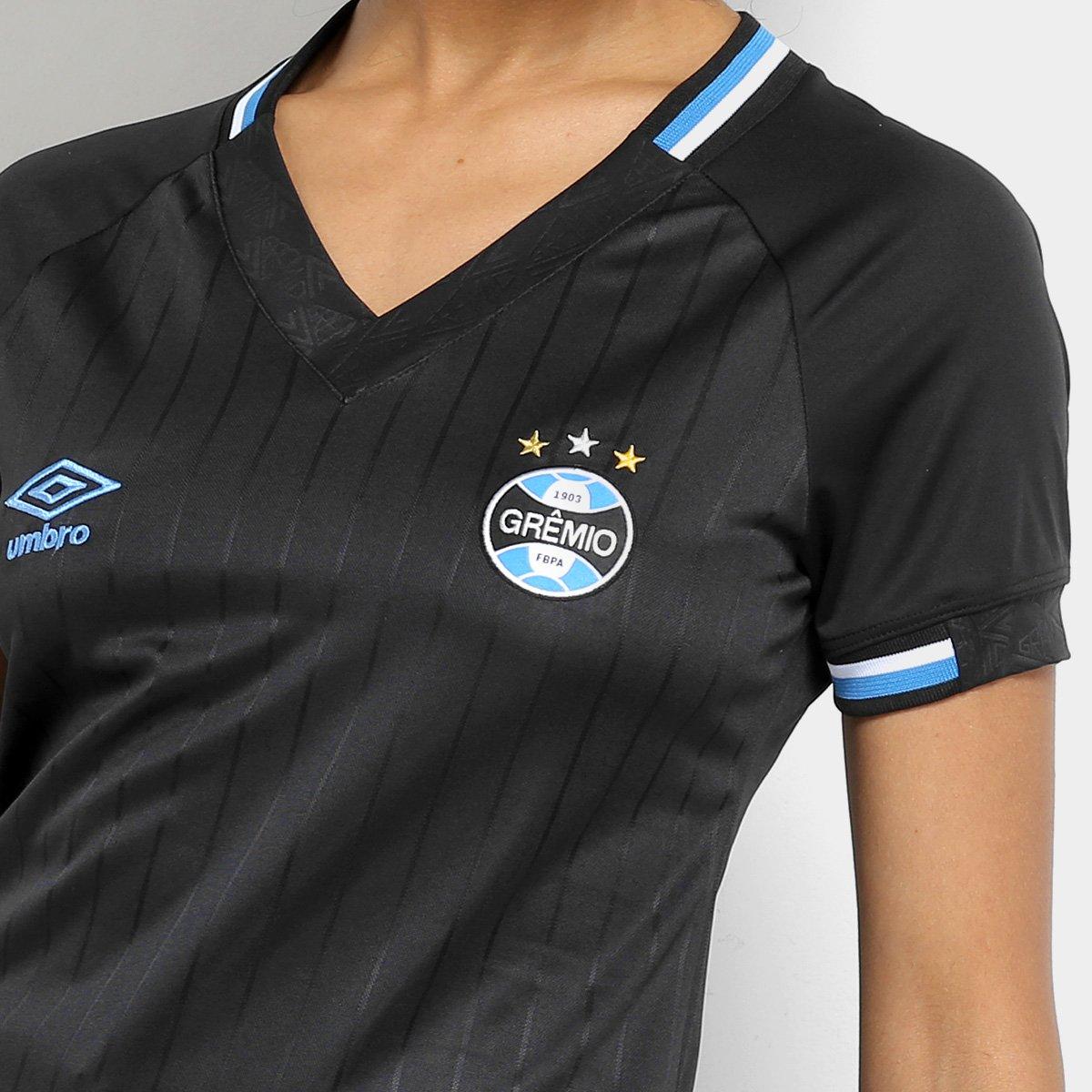 Camisa Grêmio III 2018 s n° Torcedor Umbro Feminina - Preto e Branco ... 35e07d2dd22a8