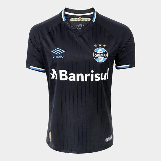 Camisa Grêmio III 2018 s/n° Torcedor Umbro Masculina - Preto+Branco